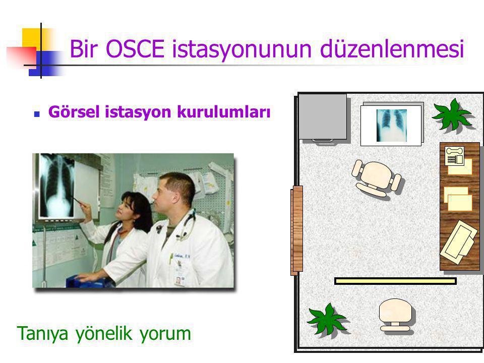 Bir OSCE istasyonunun düzenlenmesi Görsel istasyon kurulumları Hastayla görüşmeHasta bilgilendirmeLaboratuar becerileri Fizik muayeneTanıya yönelik yorum