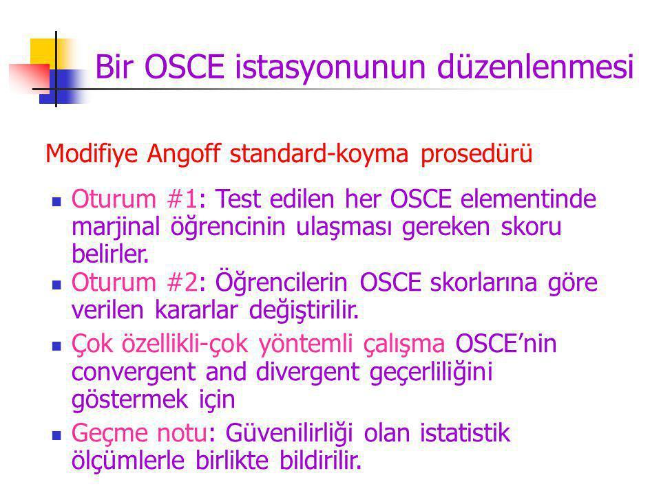 Bir OSCE istasyonunun düzenlenmesi Modifiye Angoff standard-koyma prosedürü Oturum #2: Öğrencilerin OSCE skorlarına göre verilen kararlar değiştirilir.