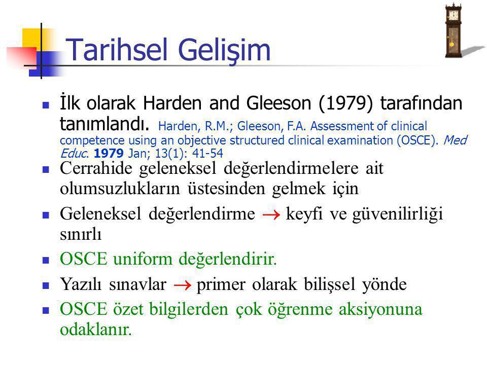 Tarihsel Gelişim İlk olarak Harden and Gleeson (1979) tarafından tanımlandı. Harden, R.M.; Gleeson, F.A. Assessment of clinical competence using an ob