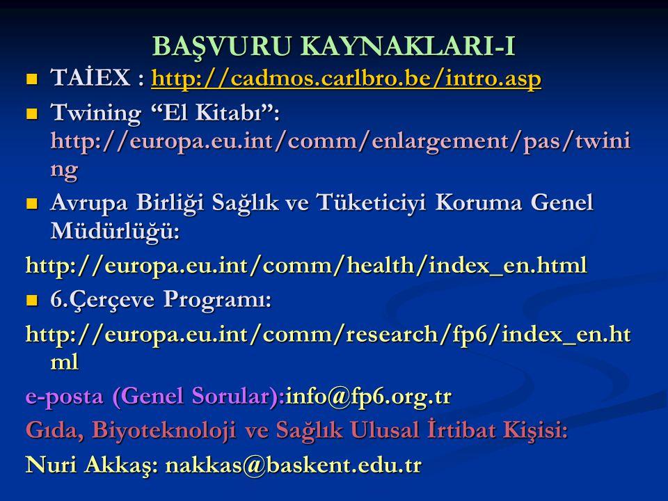 BAŞVURU KAYNAKLARI-I TAİEX : http://cadmos.carlbro.be/intro.asp TAİEX : http://cadmos.carlbro.be/intro.asphttp://cadmos.carlbro.be/intro.asp Twining El Kitabı : http://europa.eu.int/comm/enlargement/pas/twini ng Twining El Kitabı : http://europa.eu.int/comm/enlargement/pas/twini ng Avrupa Birliği Sağlık ve Tüketiciyi Koruma Genel Müdürlüğü: Avrupa Birliği Sağlık ve Tüketiciyi Koruma Genel Müdürlüğü:http://europa.eu.int/comm/health/index_en.html 6.Çerçeve Programı: 6.Çerçeve Programı: http://europa.eu.int/comm/research/fp6/index_en.ht ml e-posta (Genel Sorular):info@fp6.org.tr Gıda, Biyoteknoloji ve Sağlık Ulusal İrtibat Kişisi: Nuri Akkaş: nakkas@baskent.edu.tr