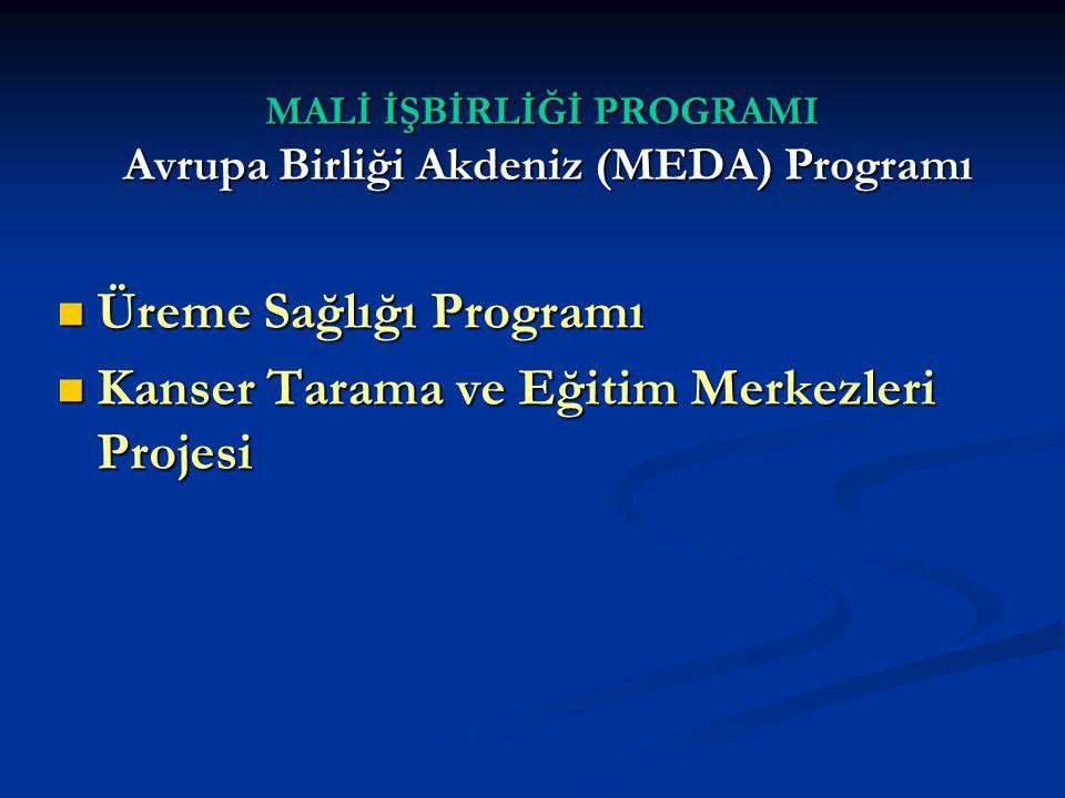 MALİ İŞBİRLİĞİ PROGRAMI Avrupa Birliği Akdeniz (MEDA) Programı Üreme Sağlığı Programı Üreme Sağlığı Programı Kanser Tarama ve Eğitim Merkezleri Projesi Kanser Tarama ve Eğitim Merkezleri Projesi