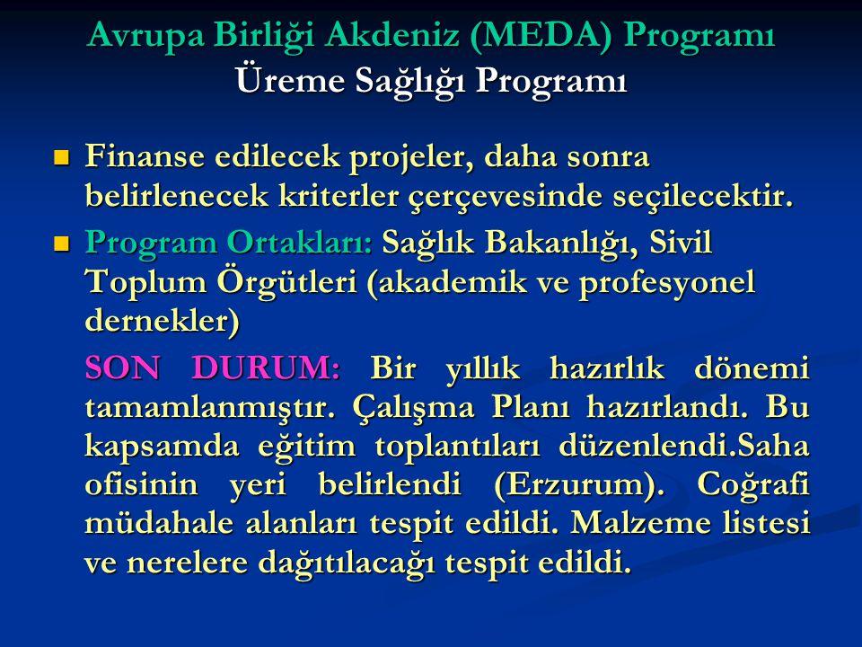 Avrupa Birliği Akdeniz (MEDA) Programı Üreme Sağlığı Programı Finanse edilecek projeler, daha sonra belirlenecek kriterler çerçevesinde seçilecektir.