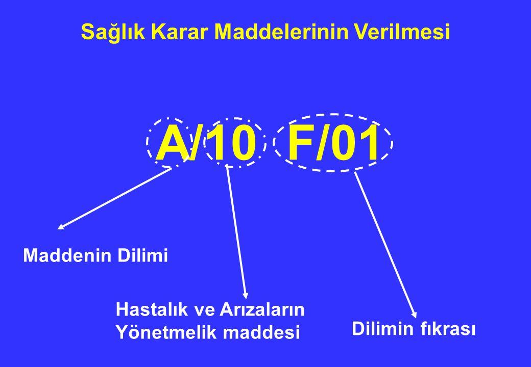 Sağlık Karar Maddelerinin Verilmesi A/10 F/01 Hastalık ve Arızaların Yönetmelik maddesi Maddenin Dilimi Dilimin fıkrası