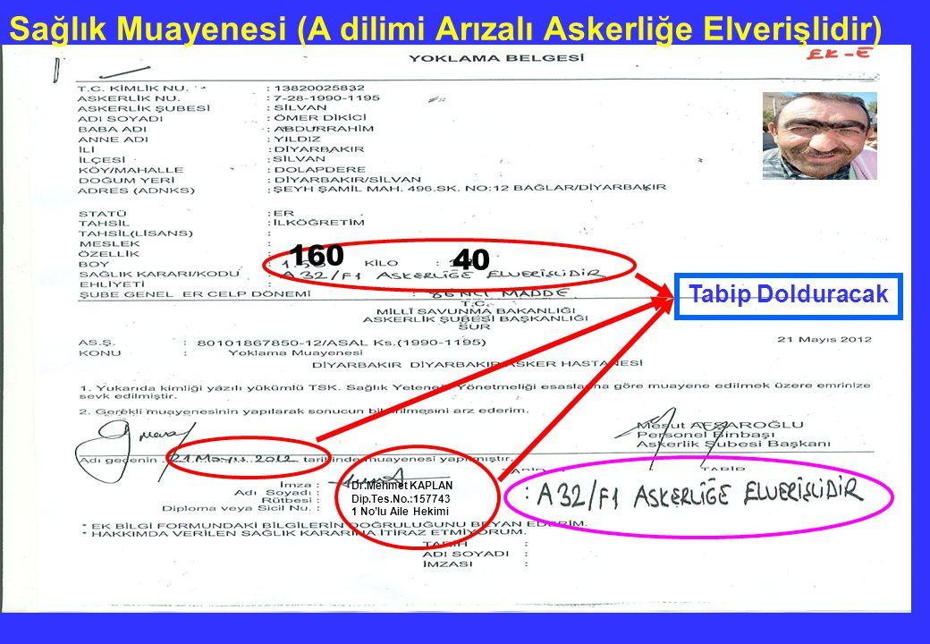 Dr.Mehmet KAPLAN Dip.Tes.No.:157743 1 No'lu Aile Hekimi Tabip Dolduracak Sağlık Muayenesi (A dilimi Arızalı Askerliğe Elverişlidir) 160 40