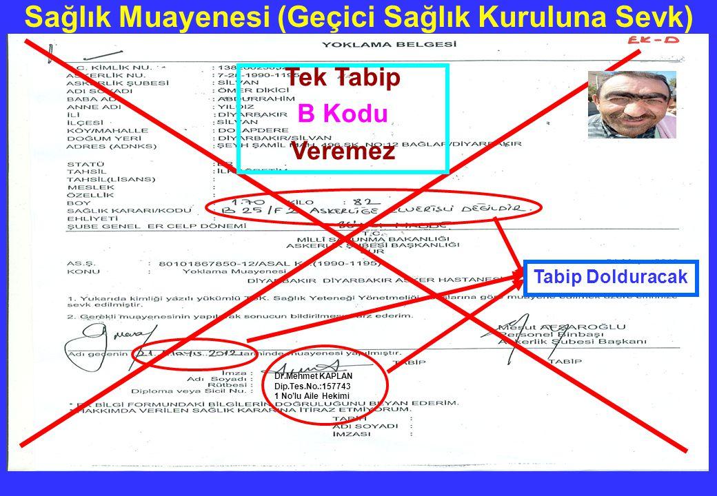 Dr.Mehmet KAPLAN Dip.Tes.No.:157743 1 No'lu Aile Hekimi Tabip Dolduracak Tek Tabip B Kodu Veremez Sağlık Muayenesi (Geçici Sağlık Kuruluna Sevk)