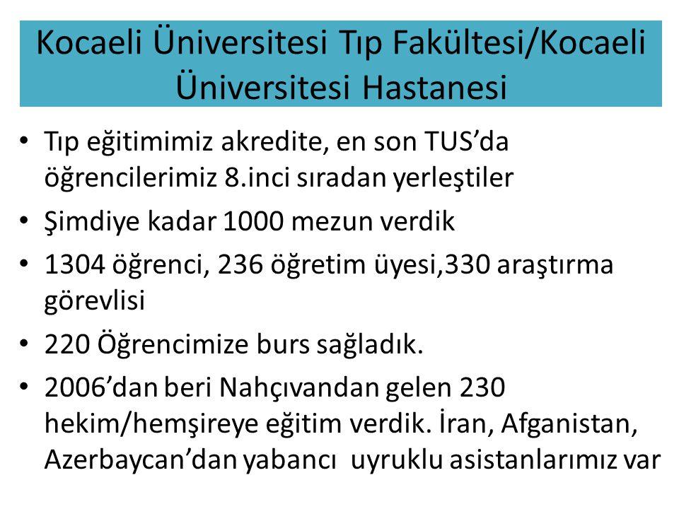Kocaeli Üniversitesi Tıp Fakültesi/Kocaeli Üniversitesi Hastanesi Tıp eğitimimiz akredite, en son TUS'da öğrencilerimiz 8.inci sıradan yerleştiler Şimdiye kadar 1000 mezun verdik 1304 öğrenci, 236 öğretim üyesi,330 araştırma görevlisi 220 Öğrencimize burs sağladık.