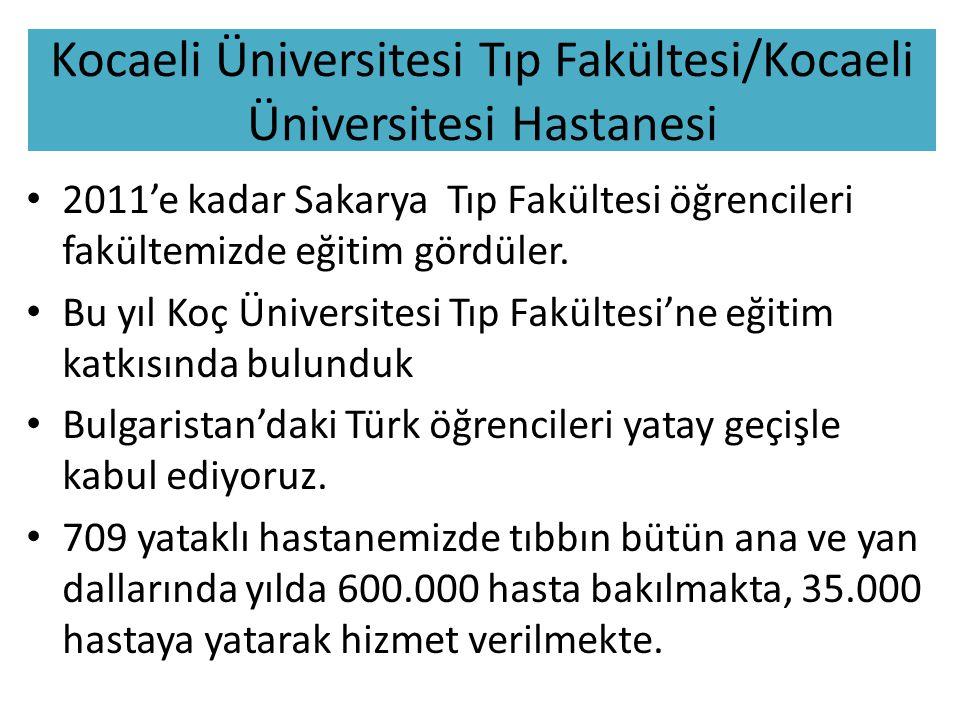 Kocaeli Üniversitesi Tıp Fakültesi/Kocaeli Üniversitesi Hastanesi 2011'e kadar Sakarya Tıp Fakültesi öğrencileri fakültemizde eğitim gördüler.
