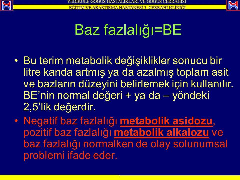 Baz fazlalığı=BE Bu terim metabolik değişiklikler sonucu bir litre kanda artmış ya da azalmış toplam asit ve bazların düzeyini belirlemek için kullanı
