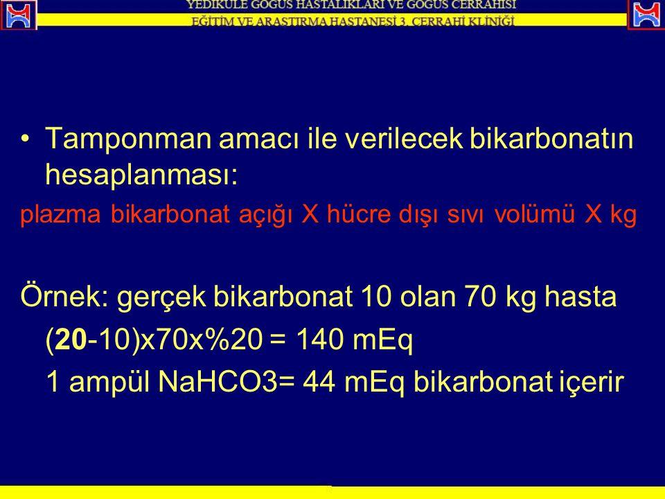Tamponman amacı ile verilecek bikarbonatın hesaplanması: plazma bikarbonat açığı X hücre dışı sıvı volümü X kg Örnek: gerçek bikarbonat 10 olan 70 kg