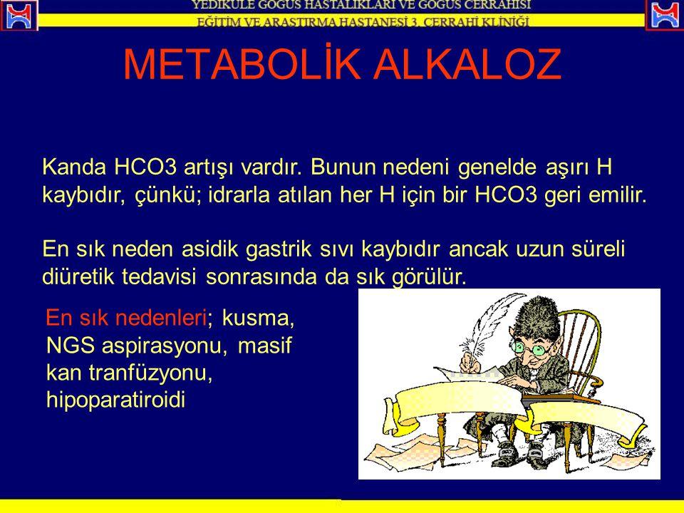 METABOLİK ALKALOZ En sık nedenleri; kusma, NGS aspirasyonu, masif kan tranfüzyonu, hipoparatiroidi Kanda HCO3 artışı vardır. Bunun nedeni genelde aşır
