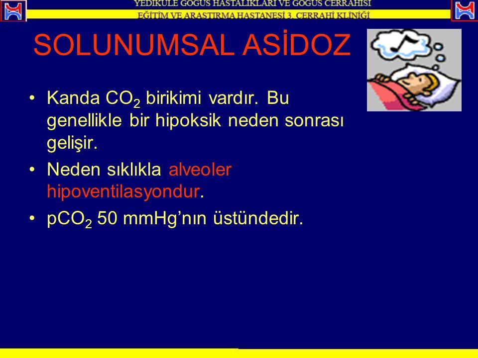 SOLUNUMSAL ASİDOZ Kanda CO 2 birikimi vardır. Bu genellikle bir hipoksik neden sonrası gelişir. Neden sıklıkla alveoler hipoventilasyondur. pCO 2 50 m