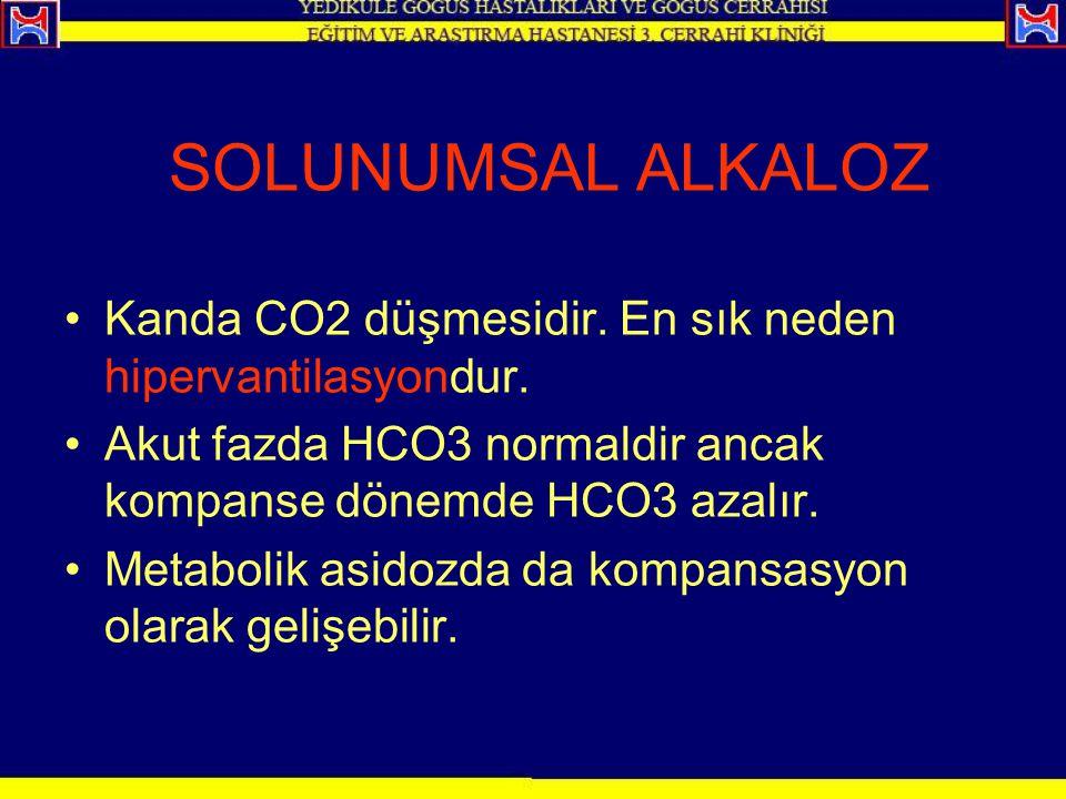SOLUNUMSAL ALKALOZ Kanda CO2 düşmesidir. En sık neden hipervantilasyondur. Akut fazda HCO3 normaldir ancak kompanse dönemde HCO3 azalır. Metabolik asi