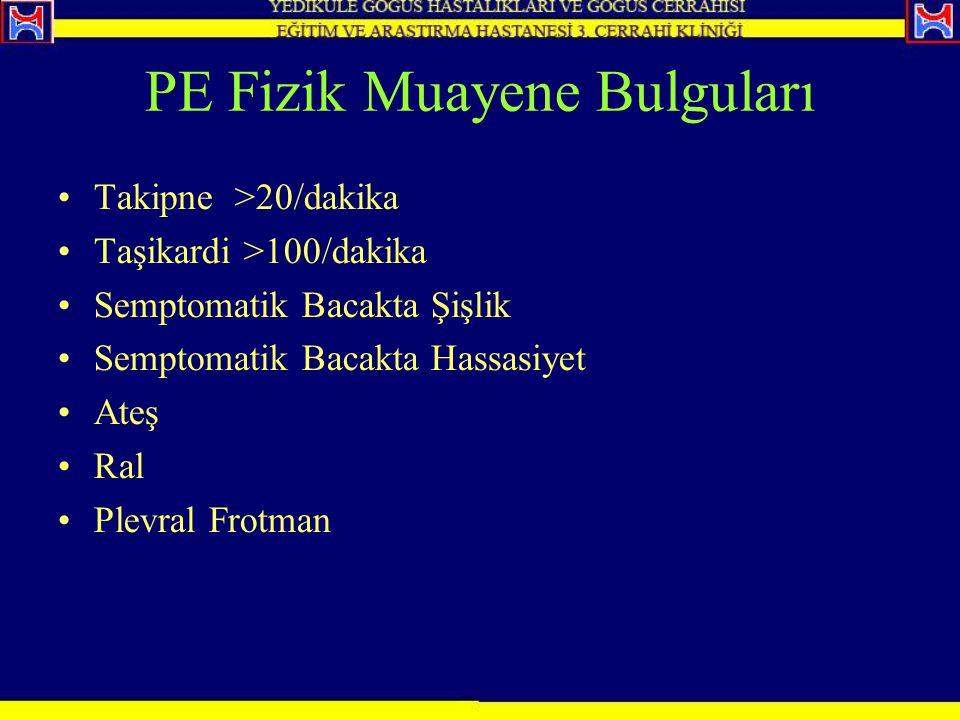 PE Fizik Muayene Bulguları Takipne >20/dakika Taşikardi >100/dakika Semptomatik Bacakta Şişlik Semptomatik Bacakta Hassasiyet Ateş Ral Plevral Frotman