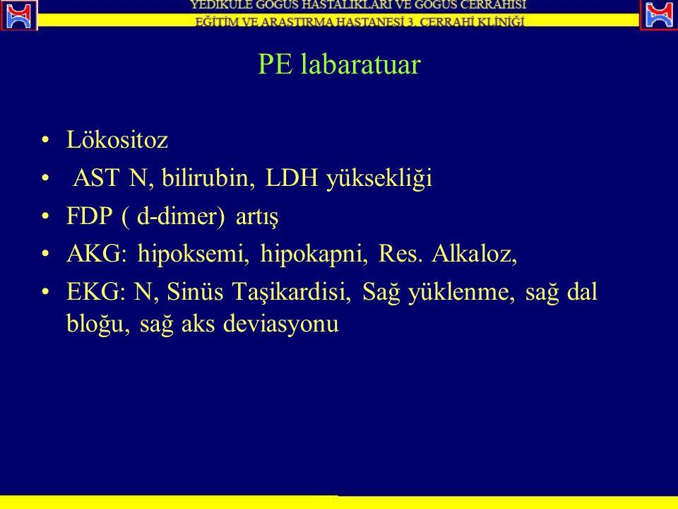 PE labaratuar Lökositoz AST N, bilirubin, LDH yüksekliği FDP ( d-dimer) artış AKG: hipoksemi, hipokapni, Res. Alkaloz, EKG: N, Sinüs Taşikardisi, Sağ