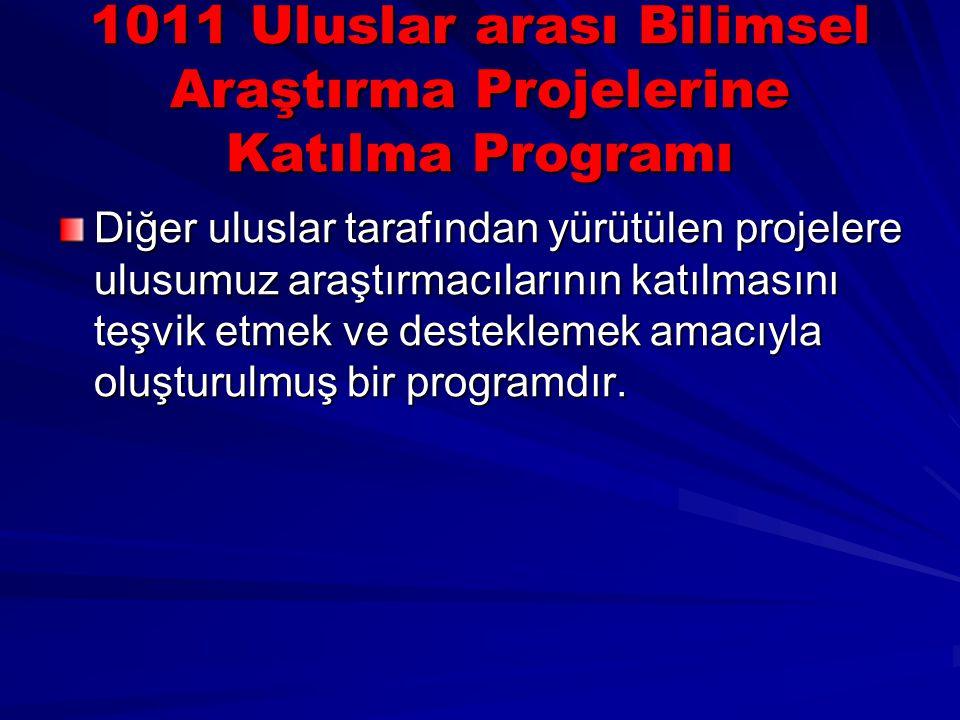 1011 Uluslar arası Bilimsel Araştırma Projelerine Katılma Programı Diğer uluslar tarafından yürütülen projelere ulusumuz araştırmacılarının katılmasın