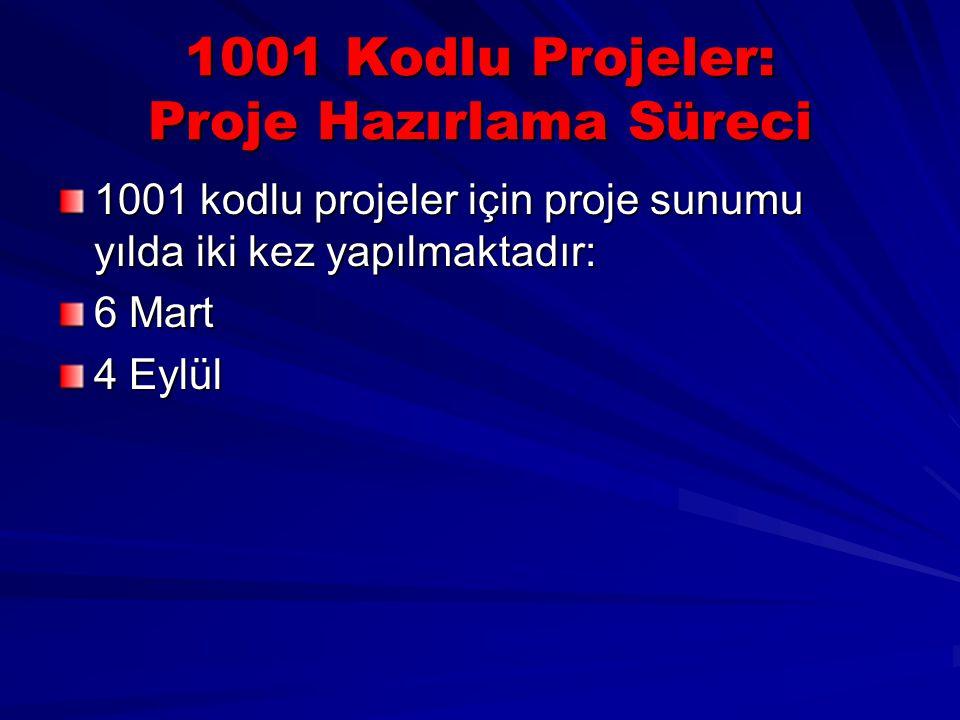1001 Kodlu Projeler: Proje Hazırlama Süreci 1001 kodlu projeler için proje sunumu yılda iki kez yapılmaktadır: 6 Mart 4 Eylül