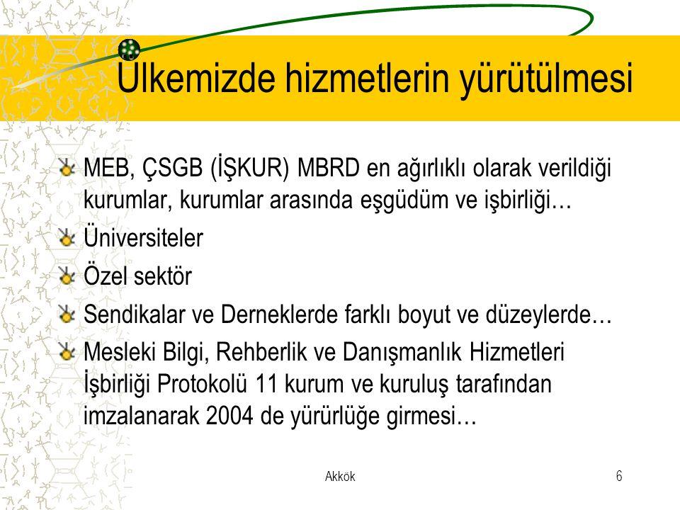 Akkök6 Ülkemizde hizmetlerin yürütülmesi MEB, ÇSGB (İŞKUR) MBRD en ağırlıklı olarak verildiği kurumlar, kurumlar arasında eşgüdüm ve işbirliği… Üniversiteler Özel sektör Sendikalar ve Derneklerde farklı boyut ve düzeylerde… Mesleki Bilgi, Rehberlik ve Danışmanlık Hizmetleri İşbirliği Protokolü 11 kurum ve kuruluş tarafından imzalanarak 2004 de yürürlüğe girmesi…
