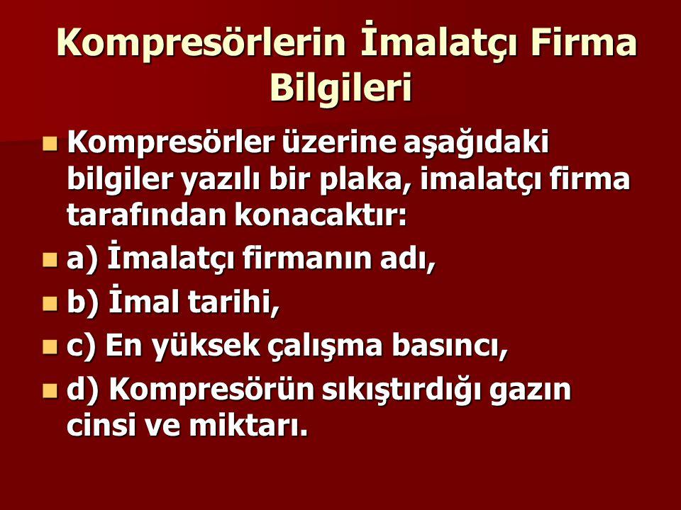 Kompresörlerin İmalatçı Firma Bilgileri Kompresörlerin İmalatçı Firma Bilgileri Kompresörler üzerine aşağıdaki bilgiler yazılı bir plaka, imalatçı fir