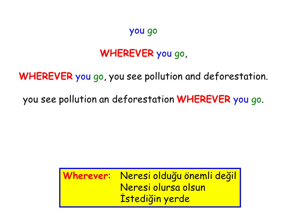 you go WHEREVER you go, WHEREVER you go, you see pollution and deforestation.