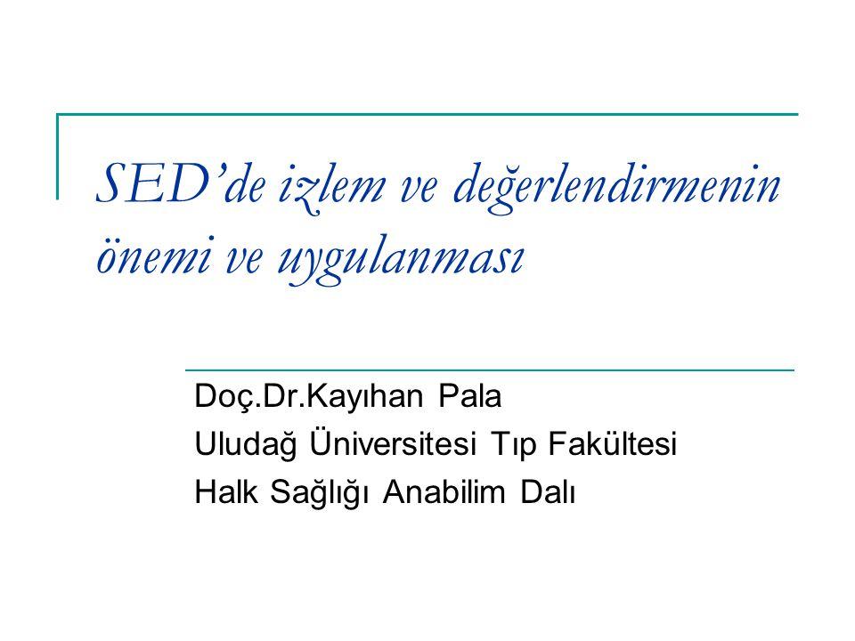 SED'de izlem ve değerlendirmenin önemi ve uygulanması Doç.Dr.Kayıhan Pala Uludağ Üniversitesi Tıp Fakültesi Halk Sağlığı Anabilim Dalı