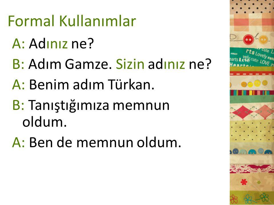 Formal Kullanımlar A: Adınız ne? B: Adım Gamze. Sizin adınız ne? A: Benim adım Türkan. B: Tanıştığımıza memnun oldum. A: Ben de memnun oldum.