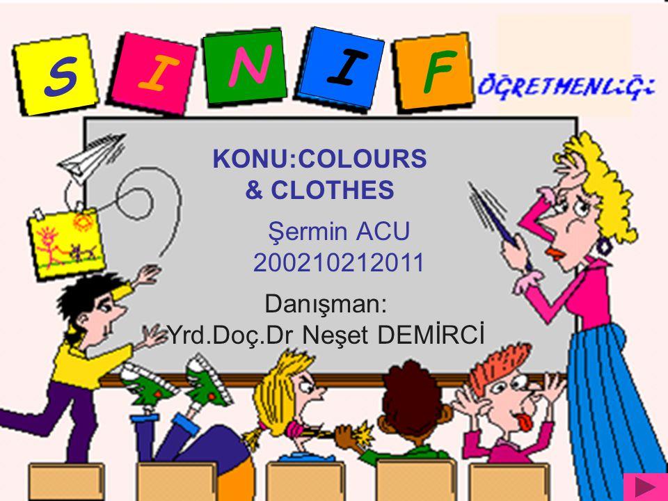 S I N I F KONU:COLOURS & CLOTHES Şermin ACU 200210212011 Danışman: Yrd.Doç.Dr Neşet DEMİRCİ