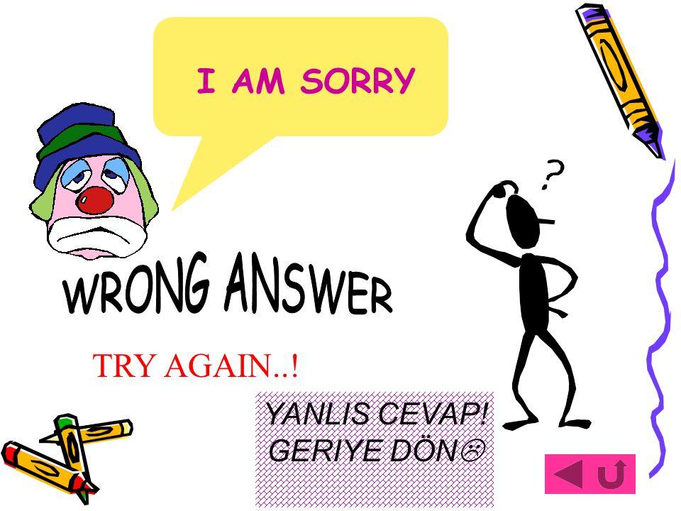 TRY AGAIN..! I AM SORRY YANLIS CEVAP! GERIYE DÖN 
