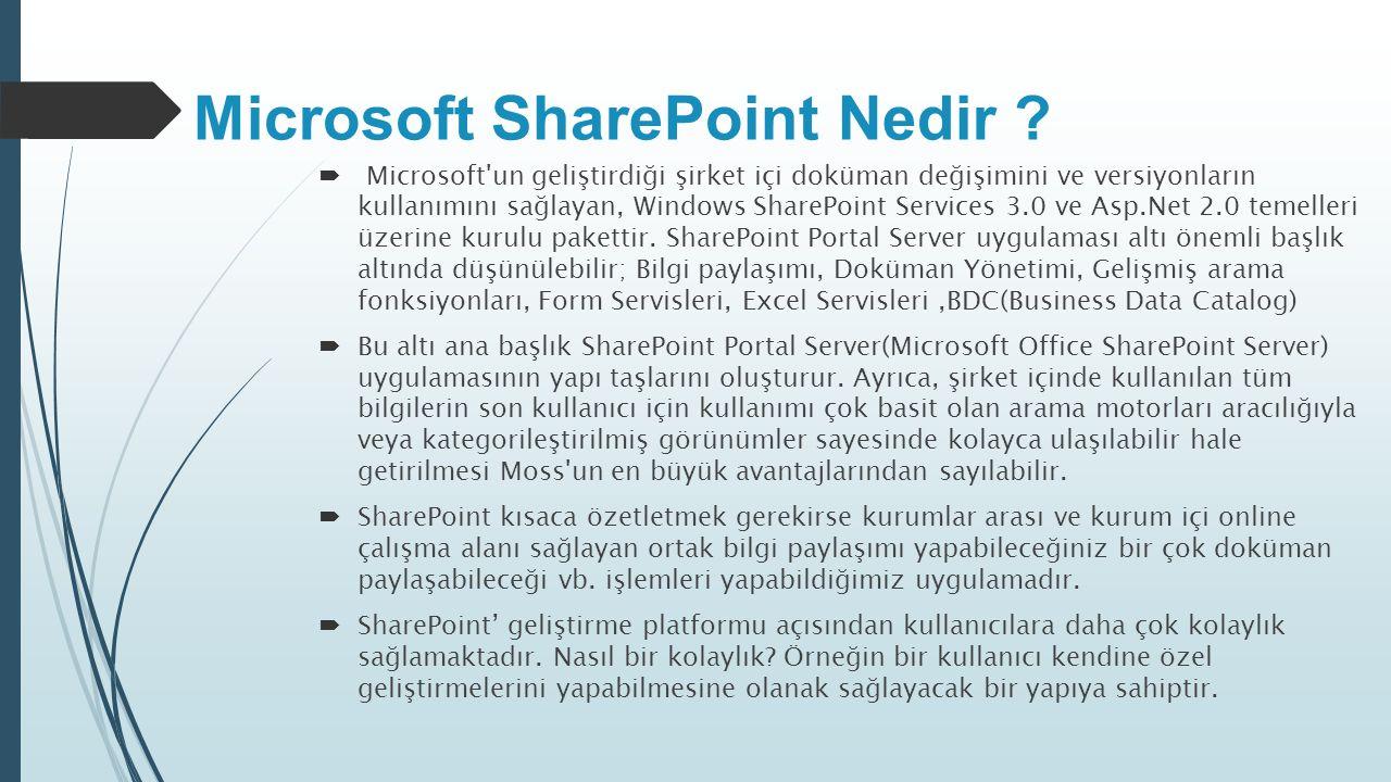 Microsoft SharePoint Nedir ?  Microsoft'un geliştirdiği şirket içi doküman değişimini ve versiyonların kullanımını sağlayan, Windows SharePoint Servi