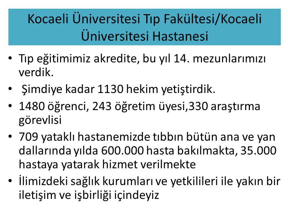 Kocaeli Üniversitesi Tıp Fakültesi/Kocaeli Üniversitesi Hastanesi Tıp eğitimimiz akredite, bu yıl 14.