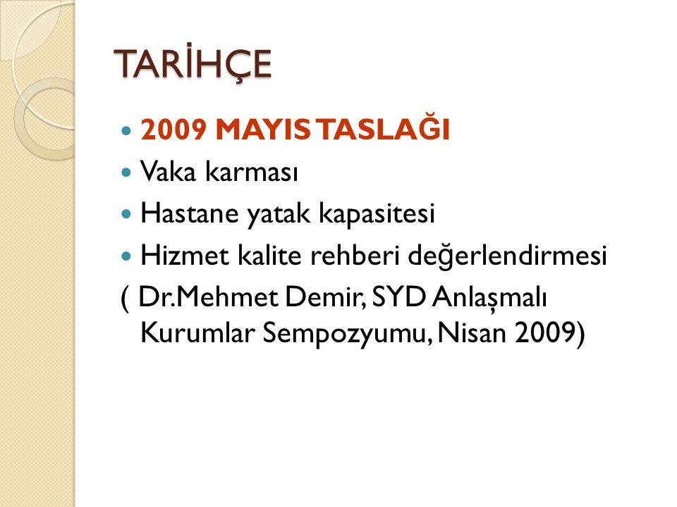 TAR İ HÇE 2009 MAYIS TASLA Ğ I Vaka karması Hastane yatak kapasitesi Hizmet kalite rehberi de ğ erlendirmesi ( Dr.Mehmet Demir, SYD Anlaşmalı Kurumlar Sempozyumu, Nisan 2009)