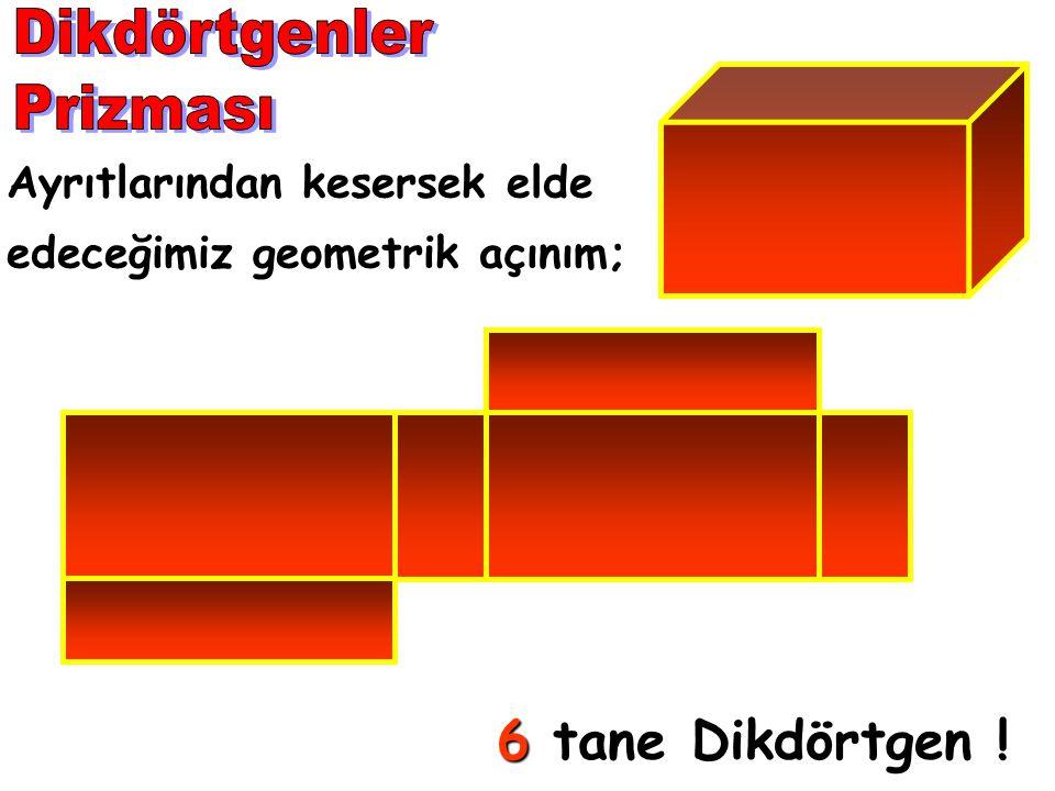 Ayrıtlarından kesersek elde edeceğimiz geometrik açınım; 6 tane Dikdörtgen !