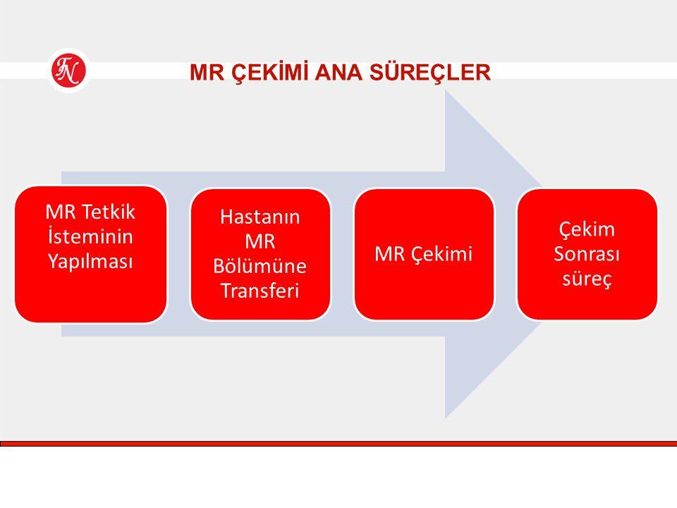 MR ÇEKİMİ ANA SÜREÇLER MR Tetkik İsteminin Yapılması Hastanın MR Bölümüne Transferi MR Çekimi Çekim Sonrası süreç