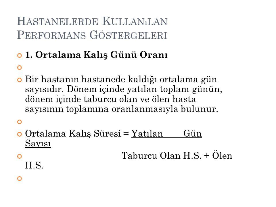 H ASTANELERDE K ULLANıLAN P ERFORMANS G ÖSTERGELERI 1.
