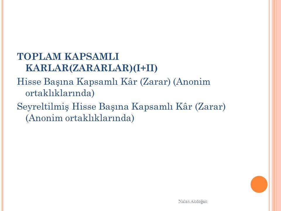 TOPLAM KAPSAMLI KARLAR(ZARARLAR)(I+II) Hisse Başına Kapsamlı Kâr (Zarar) (Anonim ortaklıklarında) Seyreltilmiş Hisse Başına Kapsamlı Kâr (Zarar) (Anonim ortaklıklarında) Nalan Akdoğan