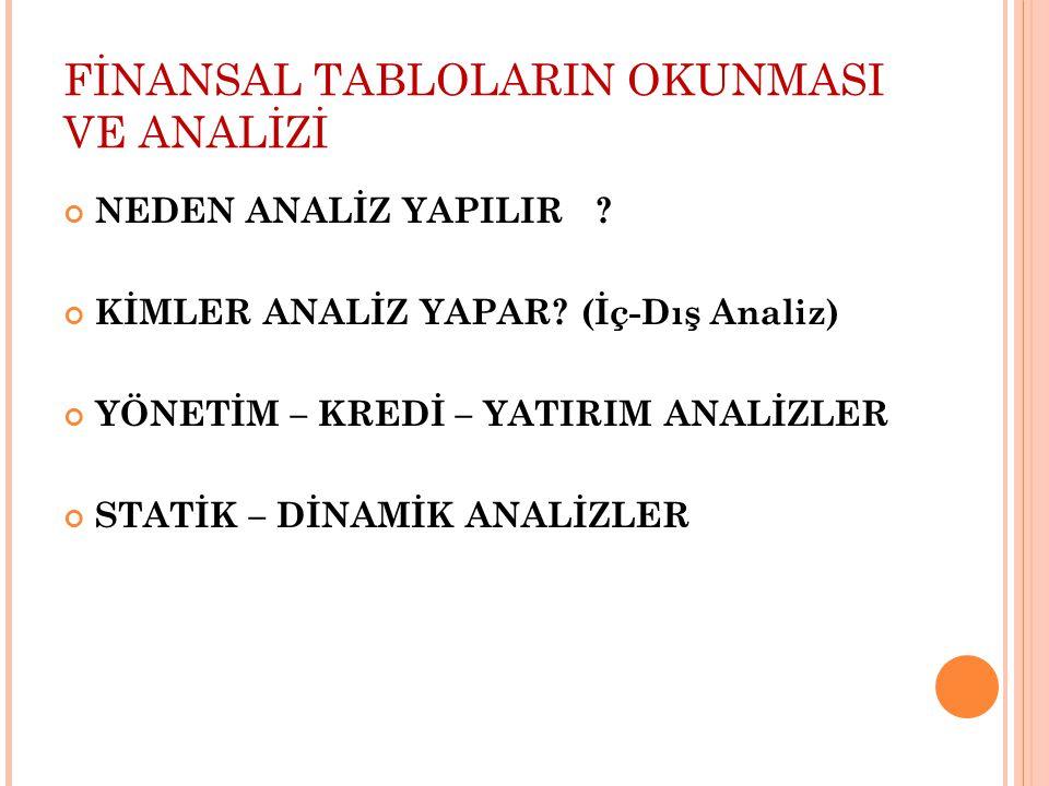 FİNANSAL TABLOLARIN OKUNMASI VE ANALİZİ NEDEN ANALİZ YAPILIR .
