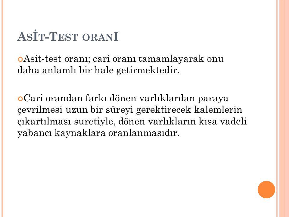 A S İ T -T EST ORAN I Asit-test oranı; cari oranı tamamlayarak onu daha anlamlı bir hale getirmektedir.