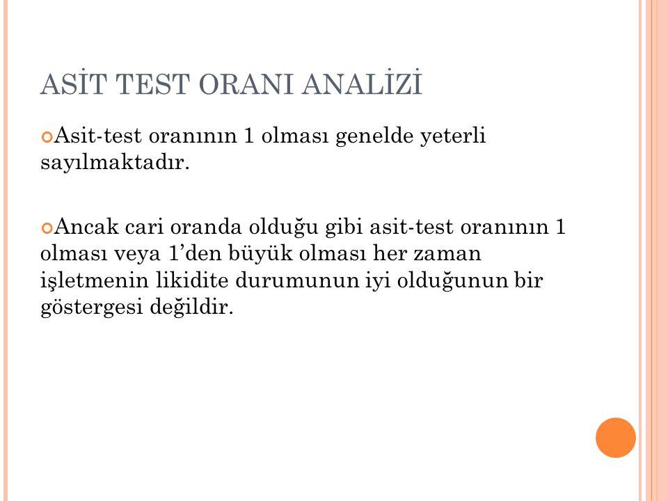 ASİT TEST ORANI ANALİZİ Asit-test oranının 1 olması genelde yeterli sayılmaktadır. Ancak cari oranda olduğu gibi asit-test oranının 1 olması veya 1'de