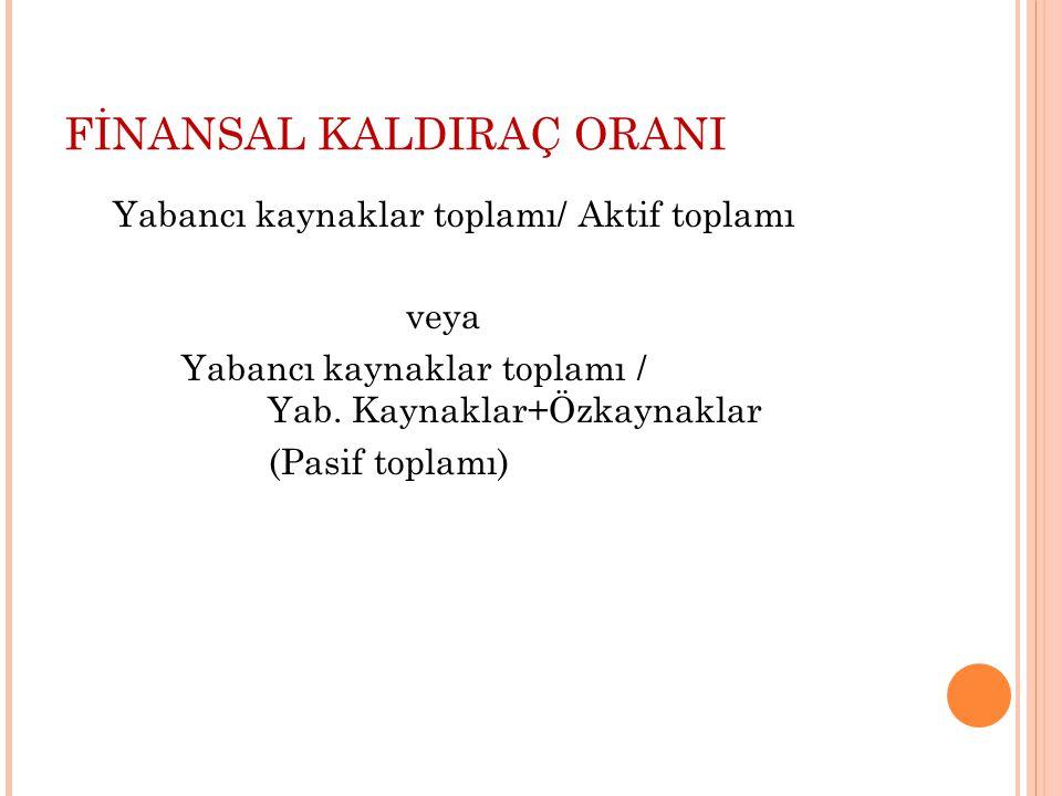 FİNANSAL KALDIRAÇ ORANI Yabancı kaynaklar toplamı/ Aktif toplamı veya Yabancı kaynaklar toplamı / Yab.