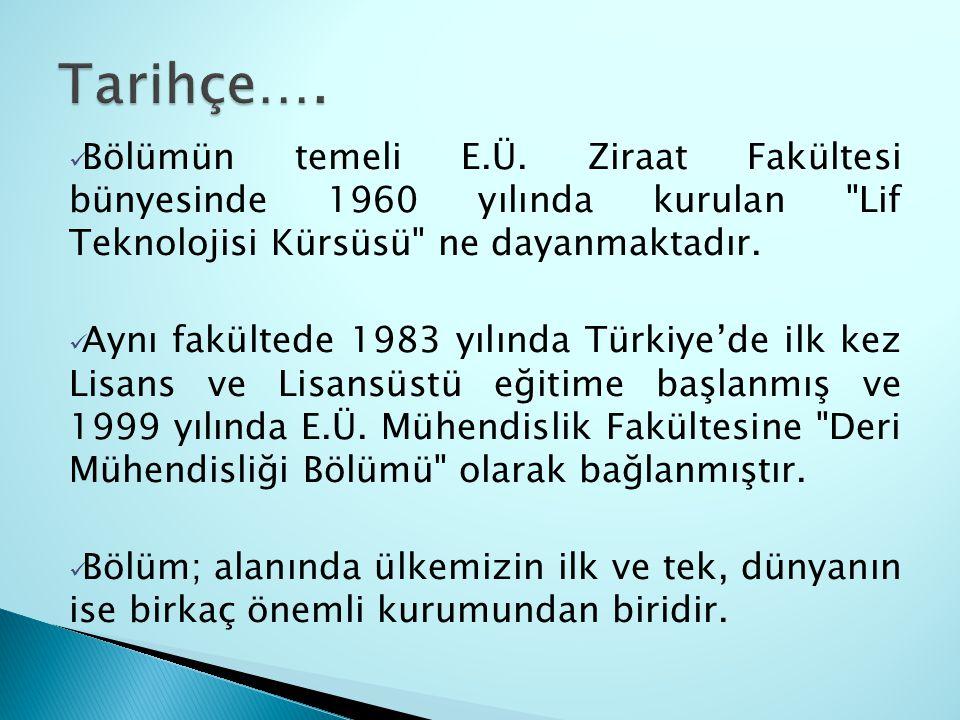 Bölümün temeli E.Ü. Ziraat Fakültesi bünyesinde 1960 yılında kurulan