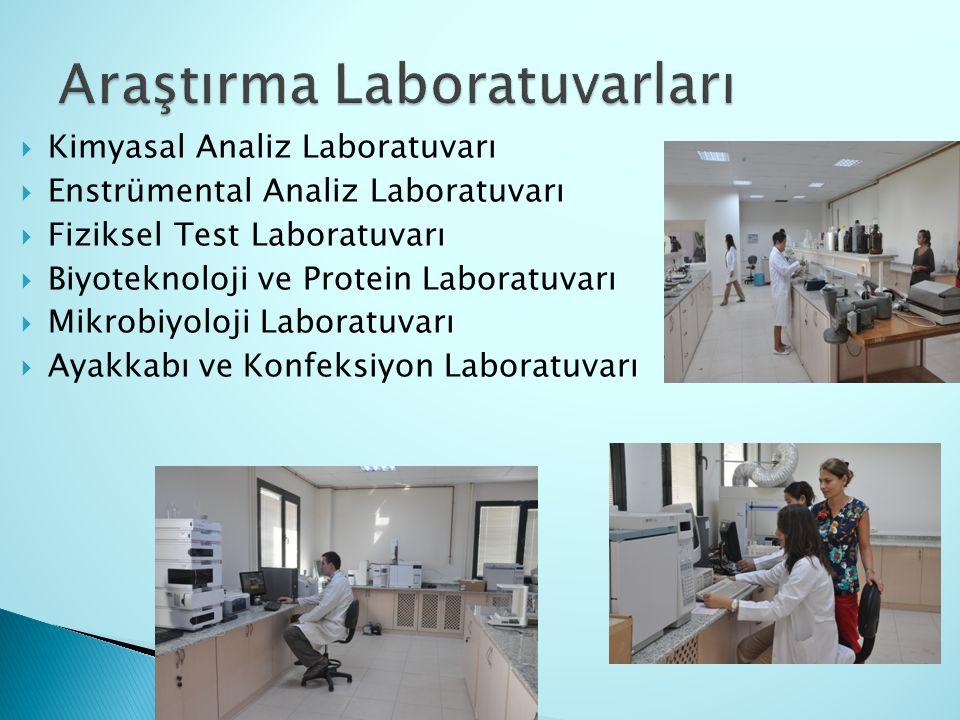  Kimyasal Analiz Laboratuvarı  Enstrümental Analiz Laboratuvarı  Fiziksel Test Laboratuvarı  Biyoteknoloji ve Protein Laboratuvarı  Mikrobiyoloji