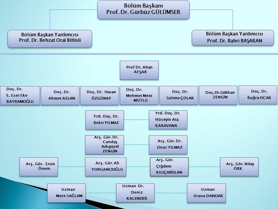 Bölüm Başkan Yardımcısı Prof. Dr. Bahri BAŞARAN Bölüm Başkan Yardımcısı Prof. Dr. Bahri BAŞARAN Bölüm Başkanı Prof. Dr. Gürbüz GÜLÜMSER Bölüm Başkanı