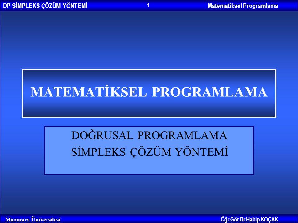 Matematiksel ProgramlamaDP SİMPLEKS ÇÖZÜM YÖNTEMİ Öğr.Gör.Dr.Habip KOÇAK Marmara Üniversitesi 1 MATEMATİKSEL PROGRAMLAMA DOĞRUSAL PROGRAMLAMA SİMPLEKS