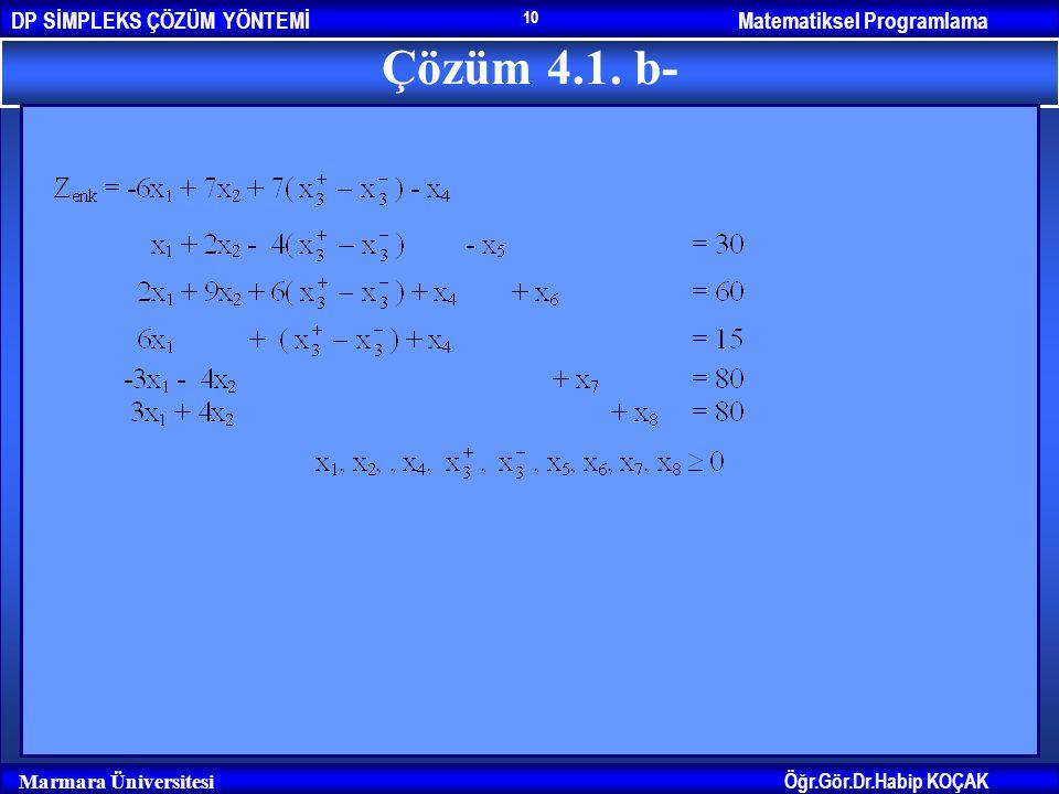 Matematiksel ProgramlamaDP SİMPLEKS ÇÖZÜM YÖNTEMİ Öğr.Gör.Dr.Habip KOÇAK Marmara Üniversitesi 10 Çözüm 4.1. b-