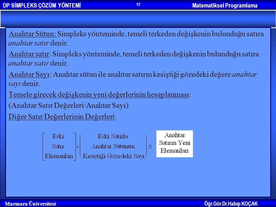 Matematiksel ProgramlamaDP SİMPLEKS ÇÖZÜM YÖNTEMİ Öğr.Gör.Dr.Habip KOÇAK Marmara Üniversitesi 17 Anahtar Sütun: Simpleks yönteminde, temeli terkeden d