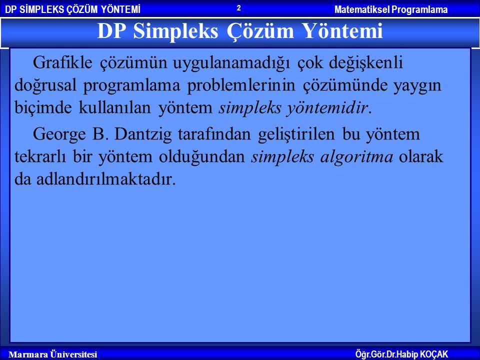 Matematiksel ProgramlamaDP SİMPLEKS ÇÖZÜM YÖNTEMİ Öğr.Gör.Dr.Habip KOÇAK Marmara Üniversitesi 2 DP Simpleks Çözüm Yöntemi Grafikle çözümün uygulanamad