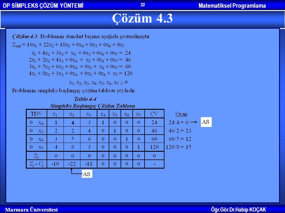 Matematiksel ProgramlamaDP SİMPLEKS ÇÖZÜM YÖNTEMİ Öğr.Gör.Dr.Habip KOÇAK Marmara Üniversitesi 22 Çözüm 4.3