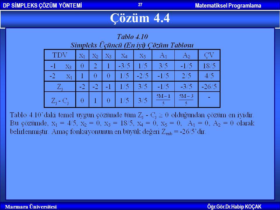 Matematiksel ProgramlamaDP SİMPLEKS ÇÖZÜM YÖNTEMİ Öğr.Gör.Dr.Habip KOÇAK Marmara Üniversitesi 27 Çözüm 4.4