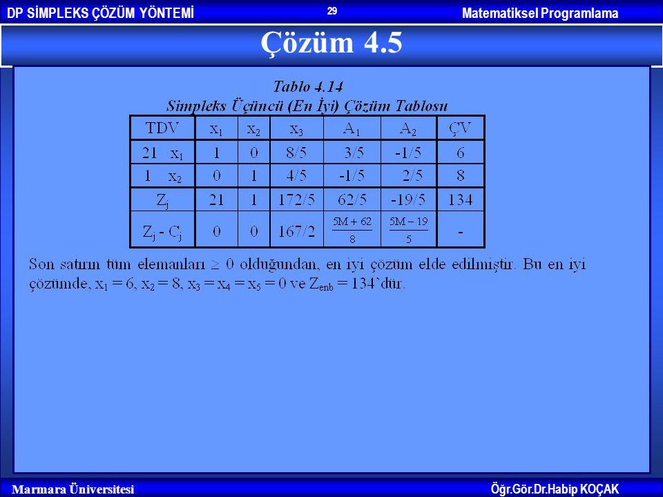 Matematiksel ProgramlamaDP SİMPLEKS ÇÖZÜM YÖNTEMİ Öğr.Gör.Dr.Habip KOÇAK Marmara Üniversitesi 29 Çözüm 4.5