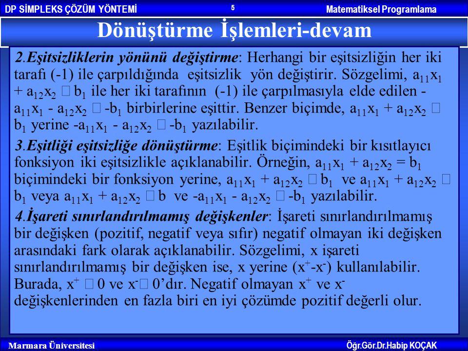 Matematiksel ProgramlamaDP SİMPLEKS ÇÖZÜM YÖNTEMİ Öğr.Gör.Dr.Habip KOÇAK Marmara Üniversitesi 5 Dönüştürme İşlemleri-devam 2.Eşitsizliklerin yönünü de