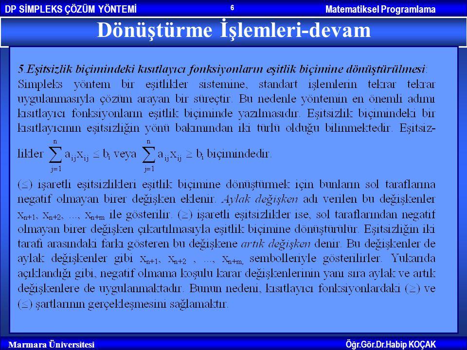 Matematiksel ProgramlamaDP SİMPLEKS ÇÖZÜM YÖNTEMİ Öğr.Gör.Dr.Habip KOÇAK Marmara Üniversitesi 6 Dönüştürme İşlemleri-devam